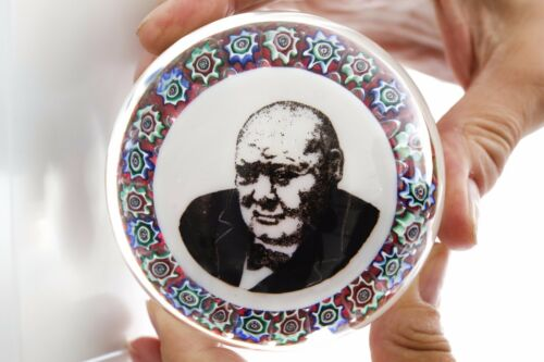 Winston Churchill Paperweight with Millefiori Rosettes