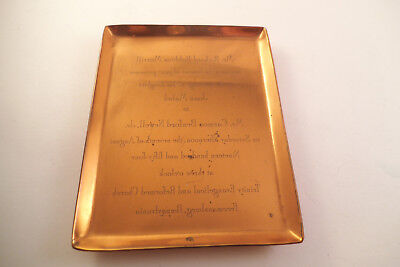 (Vintage Copper Reverse Printed Wedding Invitation Plate 1954 Freemansburg PA)