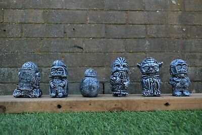 Star Wars R2,BB8,Chewy,Vader,Yoda & C3-PO Garden Ornaments-Black-Free UK P&P!!!