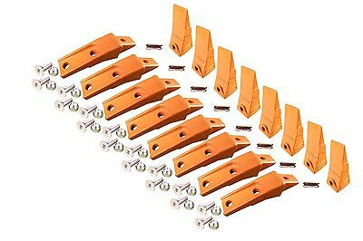 8 Skid Steer Bucket Shanks Teeth Pins W Hardware Fits Many Bobcat Buckets