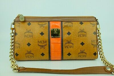 100% Authentic MCM Cognac Visetos Shoulder Bag