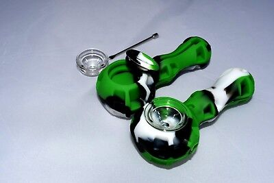 Silicone Tobacco Pipe w/ Glass Bowl, Stash Spot, and Wax Tool - (Glass Spots)