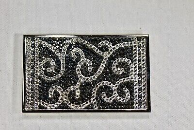 Silver Scrolls Business Card Holder Metal Case W Swarovski Crystal Crystallized