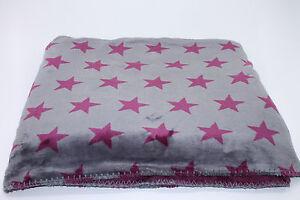 Hochwertige Sterne Star Kuscheldecke Schmusedecke Decke Flanell Grau/Beere