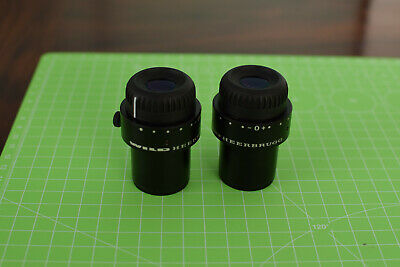 Pair Of Wild 10x21 Microscope Eyepieces Leica Heerbrugg