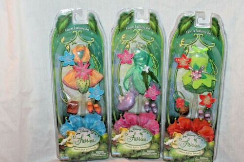 """NEW SET OF 3 FAIRIES FASHIONS SET TINKER BELL AND FREINDS  FITS 8"""" DOLL"""
