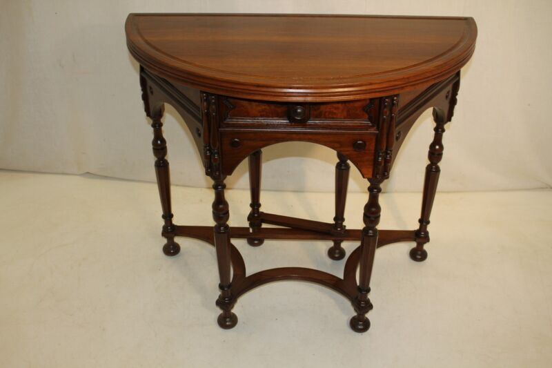 Antique Jacobean  Solid Walnut Demi-Lune Flip Top Round Game Table
