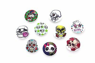 Skull Wood Buttons Halloween Hippie Chic Flower Cute Wooden DIY Craft 15mm 20pcs](Diy Flower Halloween Costume)
