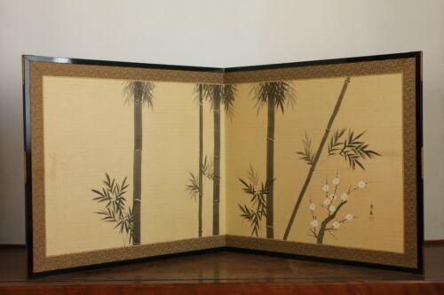 Handpainted Japanese Furosaki-Byobu Folding screen Tea ceremony Japanese art