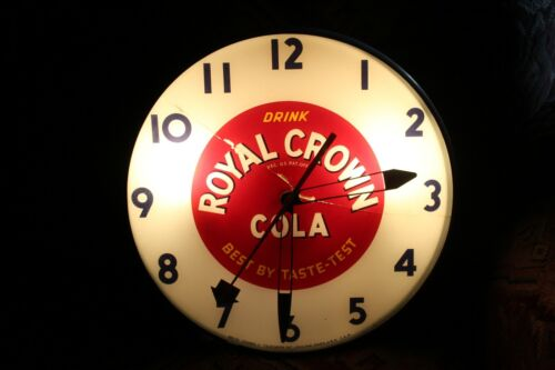 1940S Royal Crown Cola Telechron Advertising Glass Bubble Light Up Clock
