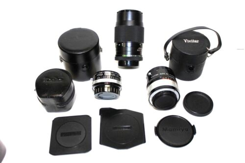 Lot Camera Lens & Covers MAMIYA - NIKON - ROLLEI - VIVITAR - KENKO Misc.