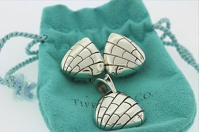 Tiffany & Co 925 Italy Silver Triangular Reptile Pattern Earring & Pendant Set