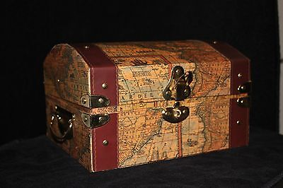 WHOLESALE Map Trunk Gift Basket LOT of 8  w/ faux leather and brass detail - Wholesale Gift Basket Supplies
