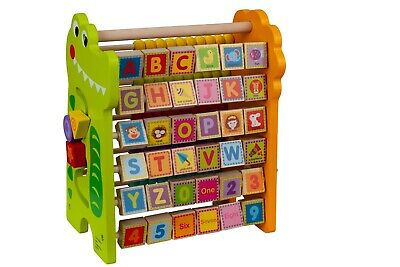 Toysters Wooden Math Beads and Alphabet Abacus | Add & Subtract Activity Center