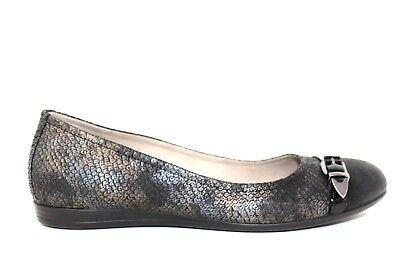 ECCO Black Snake Print Patent Cap Toe Ballet Flats Shoes Womens Size 40/9-9.5 Ecco Cap