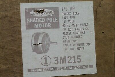 Dayton 3m215 Shaded Pole Electric Motor 16hp 1000rpm 115v Cwse