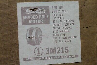 Dayton 3m215 Shaded Pole Electric Motor 16hp 1000rpm 115v Cwse