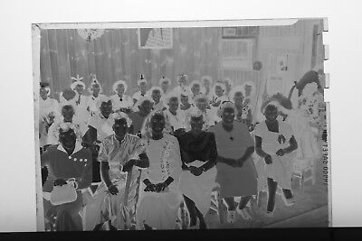 (6) B&W Press Photo Negative Social Dinner Banquet Vintage Party Hats - T3490