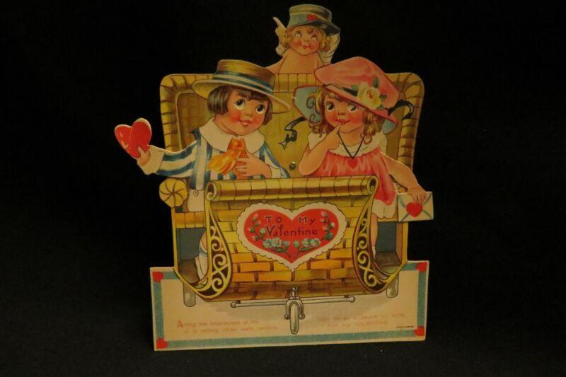 Vintage Rickshaw Boardwalk Valentine Card Early 1900S Germany