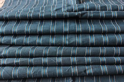 Antique French Home Dec Blue Silk & Linen Never Used Fabric c1900-1920