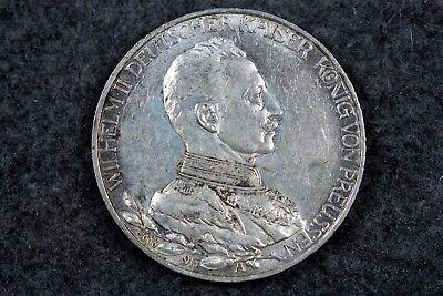 1913 - Deutsches Reich Preußen Drei Mark Gedenkmünze Wilhelm II.!!!  #H4211