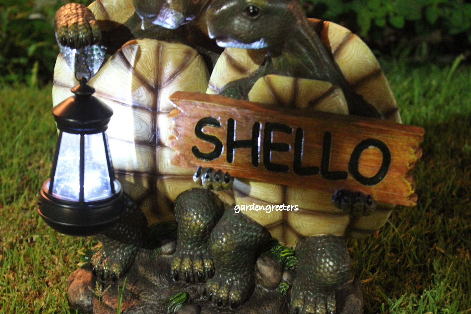 GARDEN STATUE TURTLE Couple With Solar Lantern, Turtle With Solar ...