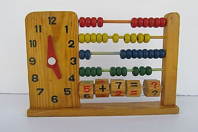 Vintage- Abacus, Clock,- Wooden Children's Learning Toy