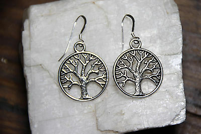 925 sterling silver earring Hooks charm Tree Of Life Trees pewter 1 pair Nature