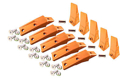 5 - Bobcat Style Skid Steer Bucket Teeth W Bolt On Shanks Pins Hardware