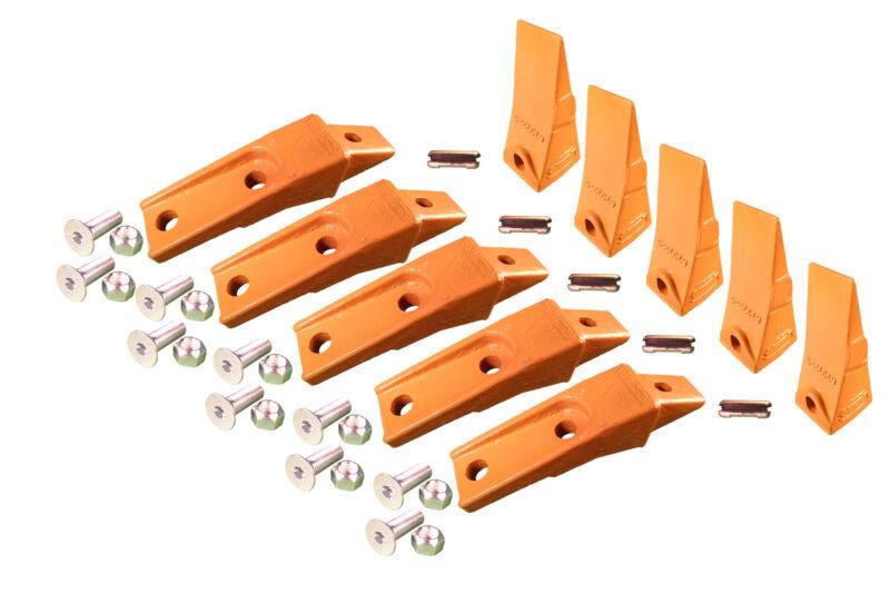 5 - Bobcat Style Skid Steer Bucket Teeth w/ Bolt On Shanks, Pins, & Hardware