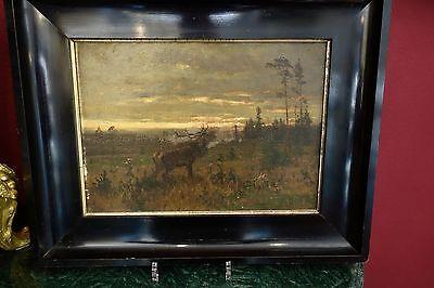 Arthur Thiele München /Herbstabend in der Dresdener Heide / Öl Gemälde 1878