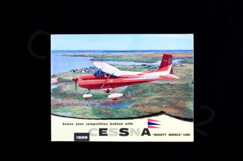 CESSNA 1959 Factory OEM Brochure Mighty Middle Line Vintage USA Fold Out Gift