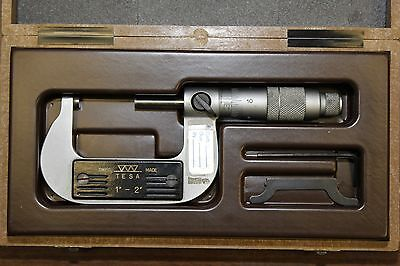 Brown Sharpe Tesa 01.20102 Standard Outside Micrometer 1-2 Range Swiss Made