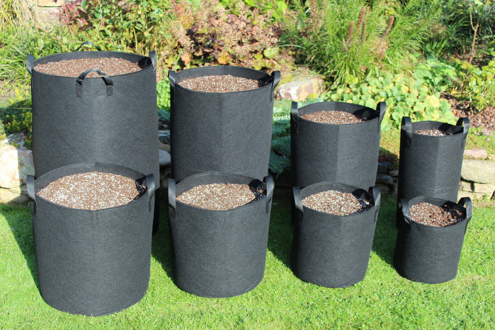 Pflanzsäcke mit Henkeln Pflanztasche Grow Bag Plant Bags Pflanzsack 12 - 450l