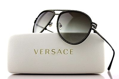 RARE Authentic VERSACE Khaki Green Diamonte Aviator Sunglasses VE 2171B 1392/8E