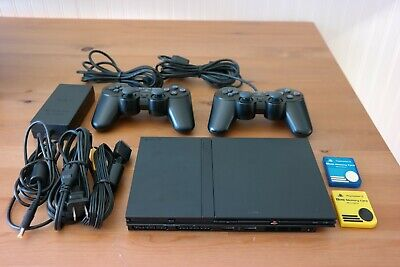Sony PlayStation 2 Slim SCPH-70012 PS2 with Two DualShock 2 controllers & Memory