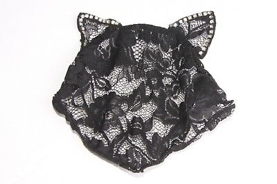 Girly Black Lace Cat Ear Halloween Costume Headband W Diamantes & Veil (s134)](Girly Halloween Costume)