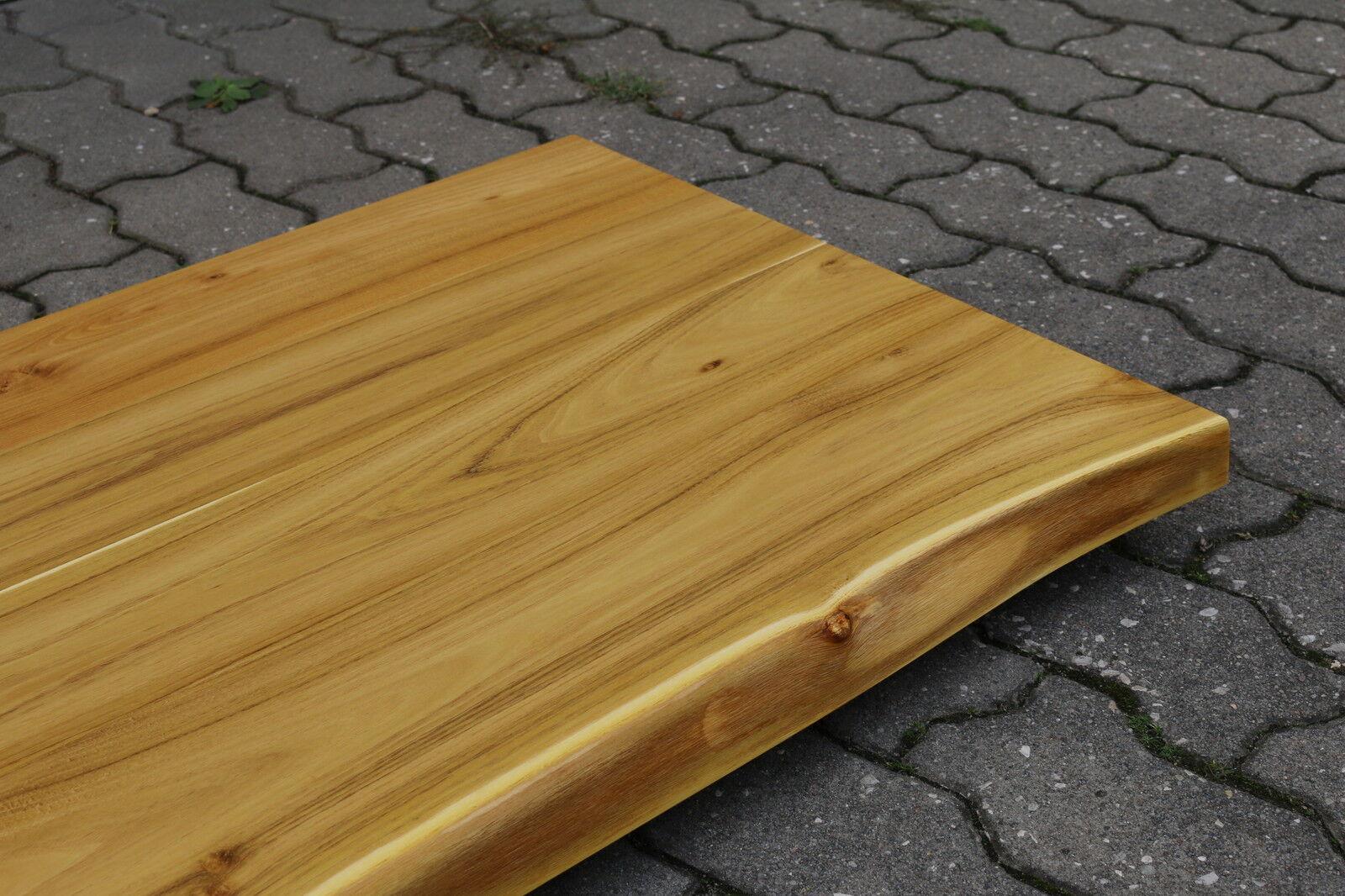 waschtisch tischplatte platte akazie massiv holz mit baumkante neu leimholz chf. Black Bedroom Furniture Sets. Home Design Ideas