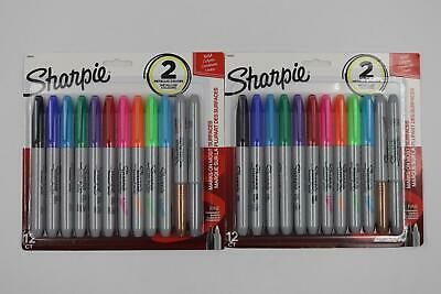 Lot 2 Sharpie Assorted Fine Tip Permanent Markers 12 Pk Original Neon Metallic