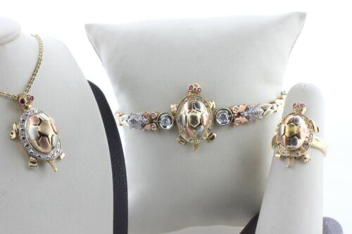 14K Tri Color Gold Tourmaline & CZ Turtle Tortoise Bracelet Pendant & Ring Set