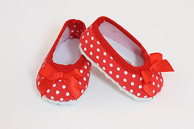 Red Ballet Flats For Girls (Red w/ White Polka dot Ballet Flats made for 18