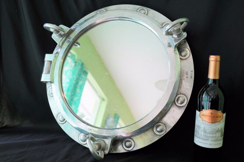 "Authentic Ship Salvage Marine 3 Dog Porthole Bathroom Mirror Nautical 19.25"" dia"