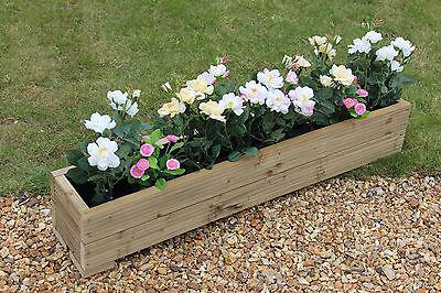 120x22x23 (cm) WOODEN TREATED GARDEN PLANTER TROUGH / PLANT POT