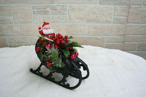 Vintage Black Cast Iron Santa & Sleigh Centerpiece/Mantel Decor