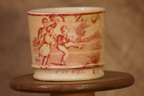 Rare 1860s Childs Football Mug Shaffordshire England Transfer (Early Football)
