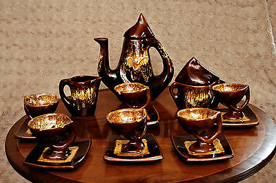 Gorgeous Vintage Ceramic Unusual Shape Coffee Set (17 pcs) 1960's