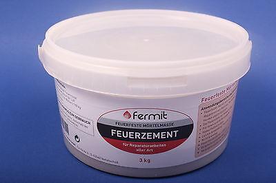 Fermit Feuerzement feuerfeste Mörtelmasse Ofenbau Zement 3000 g 3 kg | z1k
