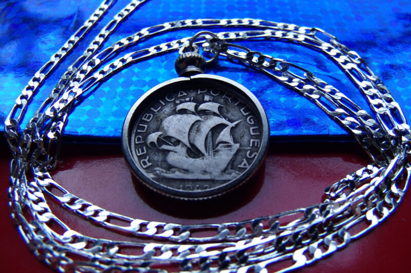 "Rare Portugal Silver Sailing Ship Coin Pendant on a 30"" 925 Silver Chain"