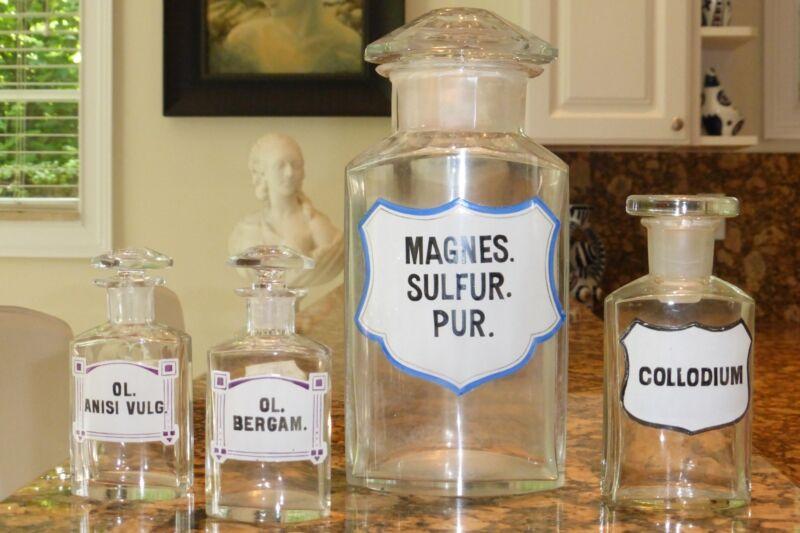 4 ANTIQUE EUROPEAN APOTHECARY PHARMACY CRYSTAL GLASS BOTTLES JARS