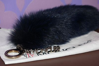 "MONCLER Real FOX Fur Tail FOXY *BAG CHARM* XL 14.5"" Key Chain *NAVY BLUE* Soft!!"